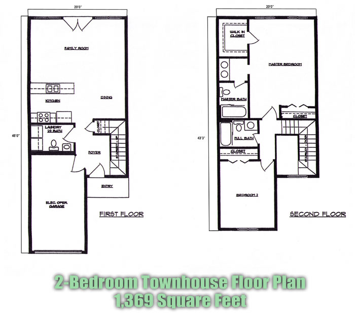 2 beroom townhouse floorplans at lincoln square apartments for Townhouse layout 3 bedrooms