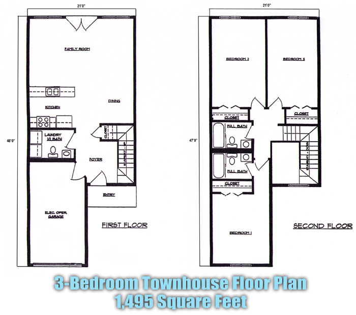 3 beroom townhouse floorplans at lincoln square apartments for Townhouse floor plans 2 bedroom