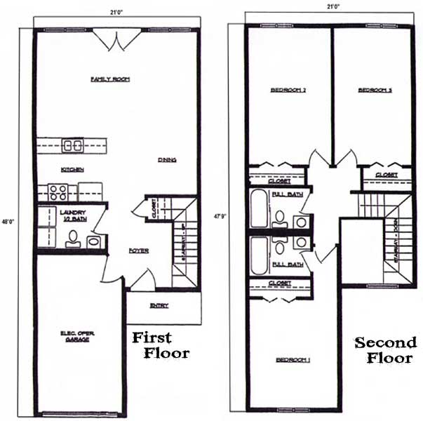 Floorplan 3 bedroom 2 5 bath 2 story townhome at lincoln for 2 story 2 bedroom apartment plans