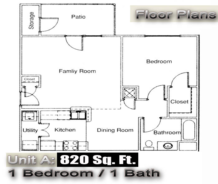 Unit a floor plan at lincoln square apartments enterprise Two bedroom townhouse plans